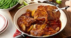 Applewood BBQ Pork Chops: A five-ingredient skillet dinner of pork chops, apple and onion in an applewood bbq sauce is perfect for busy weeknights.