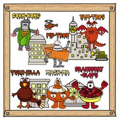 The leftover food from Thanksgiving has come back for revenge!There are 6 different Thanksgiving themed movie monsters.Included are 4 building backdrops with segmented window sections usual for lessons on fractions. Each image comes as a separate PNG image in color and backline.You may also like: Frightful FoodBeastly Treats
