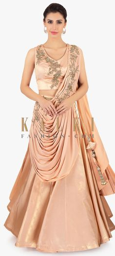 Buy Online from the link below. We ship worldwide (Free Shipping over US$100)  Click Anywhere to Tag Peach-lehenga-saree-paired-with-a-crepe-peach-embroidered-blouse-only-on-Kalki Lehenga Choli, Anarkali, Sabyasachi, Sarees, Lovely Dresses, Stylish Dresses, Formal Dresses, Indian Gowns, Indian Wear