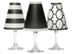 Vellum lamp shades that convert wine glasses into elevated votives. For use with standard size wine glasses. Made in USA.