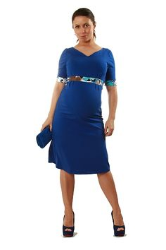 An injection of colour for work? Get the Electric Blue V maternity dress from the Zoe Alexander UK SS2012 Collection. Shop designer maternity fitted clothes with style!