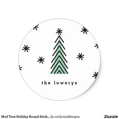 Mod Tree Holiday Round Sticker