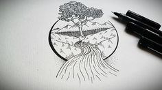 #ink #tree #river #view #drawing