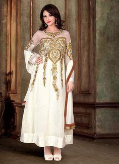 White Georgette Net Long Length Salwar Suit  #salwar kameez #anarkali salwar