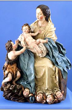 Madonna and Child with Saint John the Baptist, ca. 1692, Luisa Ignacia Roldán, Spanish, Terra cotta with polychromy, Gift of Mrs. George C. Stacy in memory of William and Elizabeth Kehl, 78-05, Loyola University Museum of Art