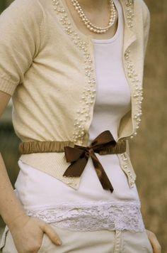 pearl embellished cardigan #fashion #style