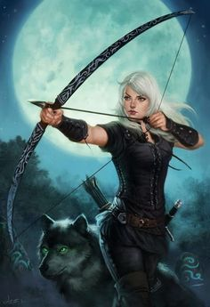 Wolf and Woman Archer. I imagine this as me. Only as a guy. And with a repeating crossbow. And wearing a helmet or wolf skin of somekind. lol XD