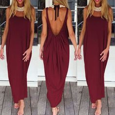 Brand Vestidos  Women Fashion Casual Loose Solid Dress Sleeveless Backless Long Maxi Beach Dresses Plus Size - ClaretRed, L Like and Share if you want this Get it here