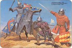 Batalla del Salado en 1340,tras la batalla de Navas de tolosa en 1212 los musulmanes ansiaban recuperar al Andalus y una fuerza de bereberes (los Benimerines o los Banu Marin) intenta invadir la península ibérica,la corona de Castilla y el Reino de Portugal unen sus fuerzas y derrotan a este ejército que les triplicaban en número