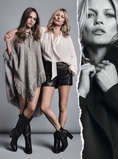 Cara and Kate wear 1970s inspired looks in the feature