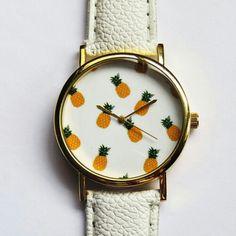 Relógio feminino com estampa de abacaxi