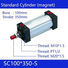 124.23$  Watch now - http://alifgk.worldwells.pw/go.php?t=32792113011 - SC100*350-S Free shipping Standard air cylinders valve 100mm bore 350mm stroke single rod double acting pneumatic cylinder 124.23$