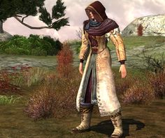 Head: Traveller's Hood, burgundy dye (Lotro store exclusive, cosmetic) Chest : Rugged Adventurer's Robe, burgundy dye (Lotro store exclusive, cosmetic) Shoulders: Pauldrons of the Wandering Bard, burgundy dye (Ettenmoors barter, minstrel rank 3) *edit 2013*: now only drops from Hobbit Presents Hands: Leather Bracers of the Gentle Stag, burgundy dye (Dunland quest reward, light) Feet: Brushed Leather Boots, white dye (skirmish, cosmetic)