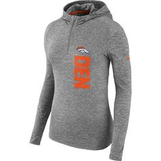 5f87f2cab365 Women s Denver Broncos Nike Heathered Gray Element Quarter-Zip Pullover  Performance Hoodie