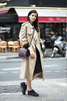 Larissa Hoffman in Burberry coat   - HarpersBAZAAR.com