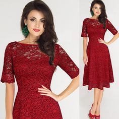 2017 New Women Lace Dress Half Sleeve O Neck Formal Party Dress Size S~3XL Red Female Vintage Dresses Empire Feminino Vestidos