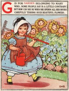 Nursery rhyme Mary quite contrary Nursery decor little girl sunflowers garden vintage children's illustration from Vintage Pictures, Vintage Images, Vintage Ideas, Pomes, Vintage Nursery, Children's Book Illustration, Book Illustrations, Nursery Rhymes, Nursery Decor