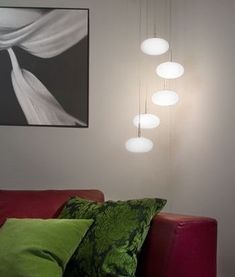 5 Light Long Drop Pendant with Opal Glass Shades