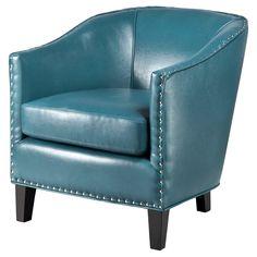 Fremont Shaped Barrel Armchair - Peacock Blue