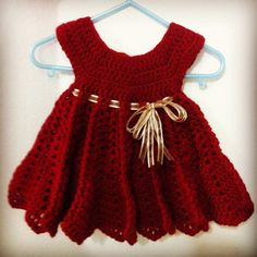 Red Crocheted Christmas Baby Dress by Kara Lyn Design on Etsy $45