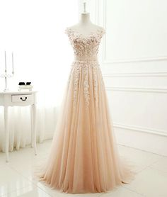 Cute A-line round neck tulle lace long prom dress, evening dress for teens