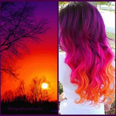 Fiery red and purple sunset was the muse for this beautiful hair color by @roguehairstudio hotonbeauty.com