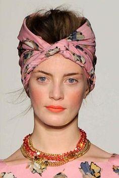 Scarf/dress matchy matchy & beautiful natural makeup.