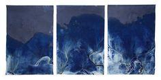 "Meghann Riepenhoff, ""Littoral Drift #473, 2016. Three dynamic cyanotypes, from the series ""Littoral Drift,"" Triptych, Point White Beach, Bainbridge Island, WA 05.17.16, Five Waves at Apex of Low Tide , Approx. 36 x 72 36 x 24 Each Photo © Meghann Riepenhoff, courtesy of Yossi Milo Gallery."