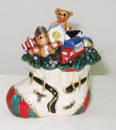 Adorable White Christmas Stocking Filled With Toys  Austrian Crystal Jeweled Trinket Box comes in a satin lined box ready for gifting.  This will make a great addition to your holiday decor or to give as a gift. Free Shipping   #TrinketBox  #Christmas  #Gift