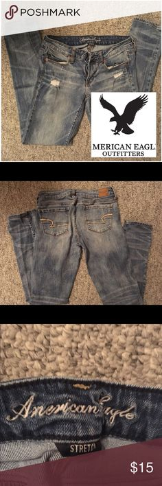 Destroyed skinnies! American Eagle Outfitters great shape. Inseam is 30.5 in American Eagle Outfitters Jeans Skinny