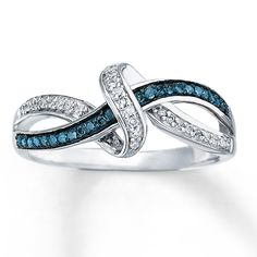 LOVE!!!!! BLUE & WHITE DIAMONDS 1/6 CT TW RING STERLING SILVER $199