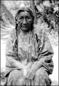 78 year old Cheyenne woman Mrs. Wooden Leg, of Manderson. She was 18 years old and in camp at the time of the Battle of the Little Bighorn. Photographed: 1936.