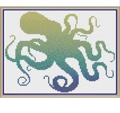 Ombre Octopus - Counted Cross Stitch Pattern by HornswoggleStore, $5.00 (Nursery, Kids, Children, Animal, Baby)