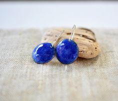 Bright blue enamel earrings  round dangle sterling silver by alery