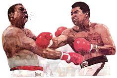 Bart Forbes illustration, Holmes vs. Ali,1980.