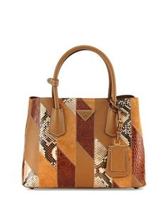 Patchwork Tote Bag, Camel Multi (Cannela) by Prada at Neiman Marcus.