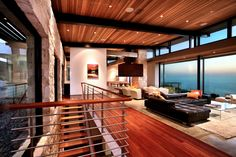 12 Modern Living Room Designs with Awesome Views : Open Wooden Staircase Open Plan Lounge Living Room with Awesome View by C.Ware Inc Living Room Paint, Living Room Modern, Interior Design Living Room, Living Room Designs, Living Rooms, Interior Livingroom, Interior Designing, Living Area, H Design