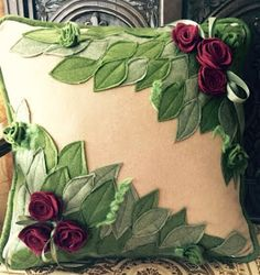 Pillows For Snoring Code: 6553390922 Felt Flowers, Fabric Flowers, Paper Flowers, Funny Pillows, Kids Pillows, Cushion Embroidery, Ribbon Embroidery, Felt Pillow, Quilted Pillow
