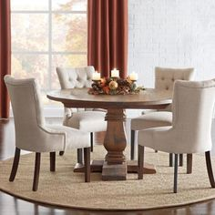 Home Decorators Collection Aldridge Antique Walnut Round Dining Table - - The Home Depot Round Pedestal Dining Table, Round Dining Set, Antique Dining Tables, Dining Room Table Decor, Walnut Dining Table, Round Kitchen Table Sets, Round Dining Room Tables, Farmhouse Round Dining Table, Kitchen Tables