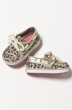 Absoutely adorable!  Sperry Top Sider® Leopard Print 'Bahama' Crib Shoe  http://rstyle.me/n/e6zbynyg6
