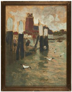 Le Port de Bruges. Sketch by Frits Thaulow