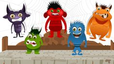 Five Little Monsters | Nursery Rhyme with Lyrics | Halloween Song