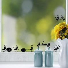 Ant house Moving Art wall stickers Cartoon ants home decor Vinyl wall decals Glass stickers home decoration for windows