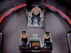Star Trek: the Original Series. Enterprise Bridge. And the color of the floor is ... dirty. Hmmm ...