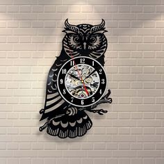 vinyl owl clock