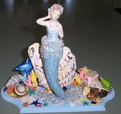 One of my favourite beaded knitted dolls I was awarded Prize at the Royal Queensland Show for this piece. Mermaid Diy, Graphic 45, Knitted Dolls, Blogger Themes, I Am Happy, Tinkerbell, Birthday Cards, Banner, Tinker Bell