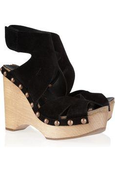 Pedro Garcia|Agatha wooden-wedge suede sandals|NET-A-PORTER.COM