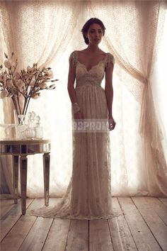 A-line V-back Lace V-neck Brush Train Wedding Dress