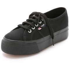 Superga Platform Sneakers ($79) ❤ liked on Polyvore featuring shoes, sneakers, black, lace up sneakers, platform shoes, black trainers, canvas shoes and lacing sneakers