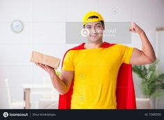Superhero Delivery Guy With Box Photo Superhero Man, Delivery Photos, Delivery Man, Adobe Xd, Model Release, Photoshop, Guys, Box, Snare Drum